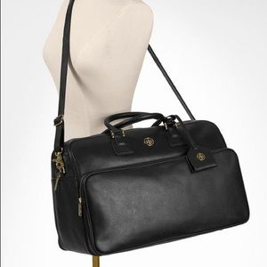 Tory Burch Black Leather Robinson Duffle Bag
